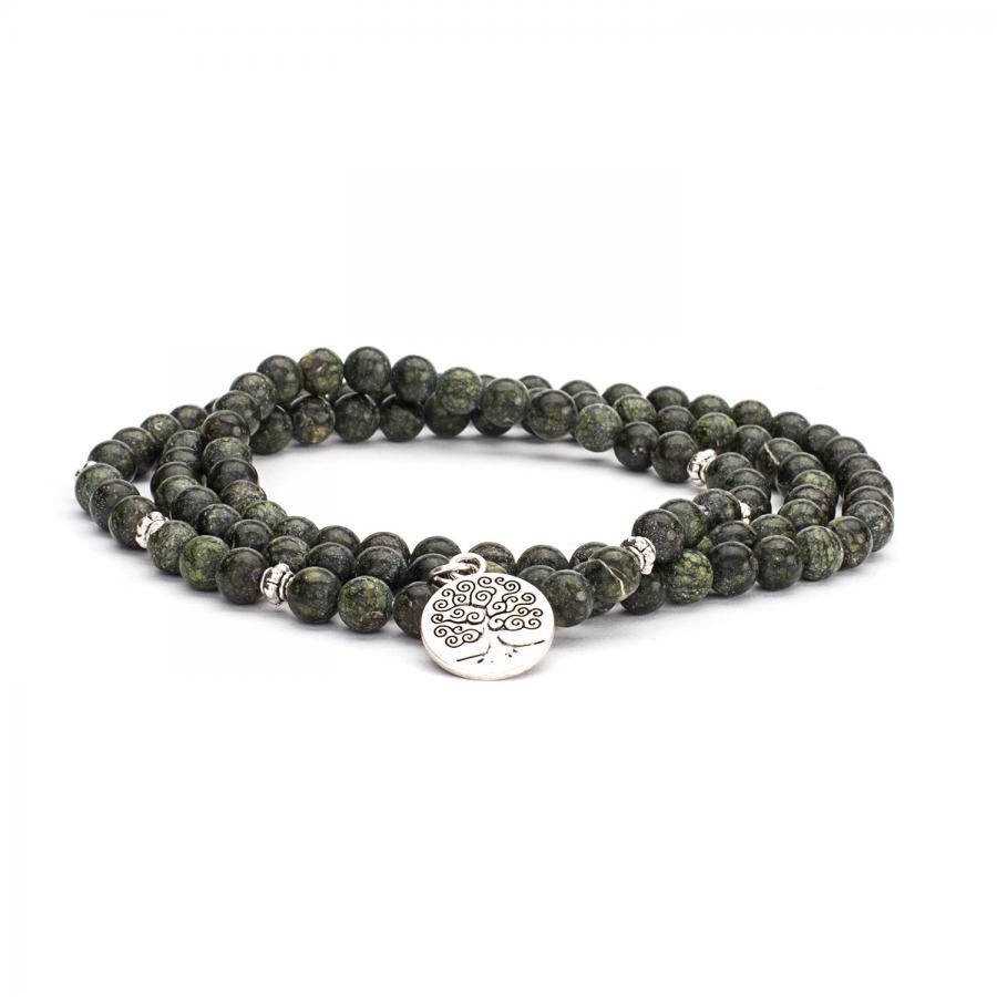 Mala Wickel-Armband mit grünem Serpentinit, Modeschmuck