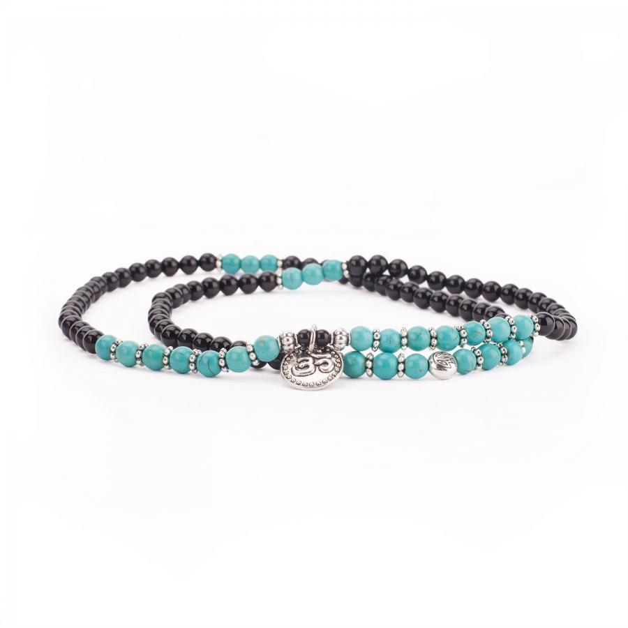 Bracelet fantaisie mala à enrouler, turquoise et noir, avec agate