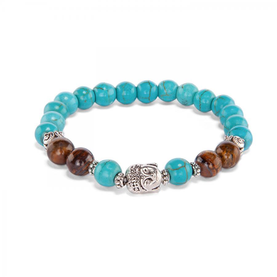 """Bracelet fantaisie Mala, """"turquoise & œil de tigre"""", 21 perles"""