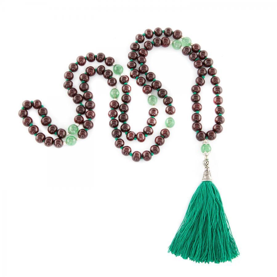Mala bois de rose/onyx vert, 108 perles