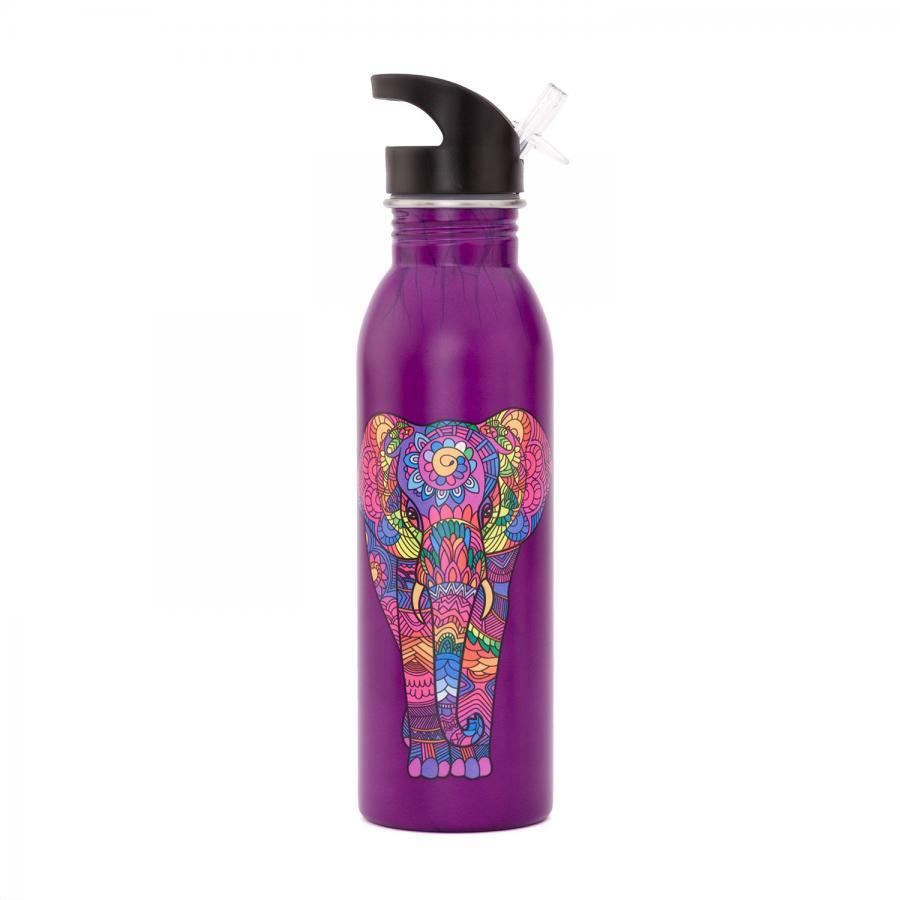 bodhi Edelstahl-Trinkflasche, 700 ml, bedruckt Holi Elephant, aubergine