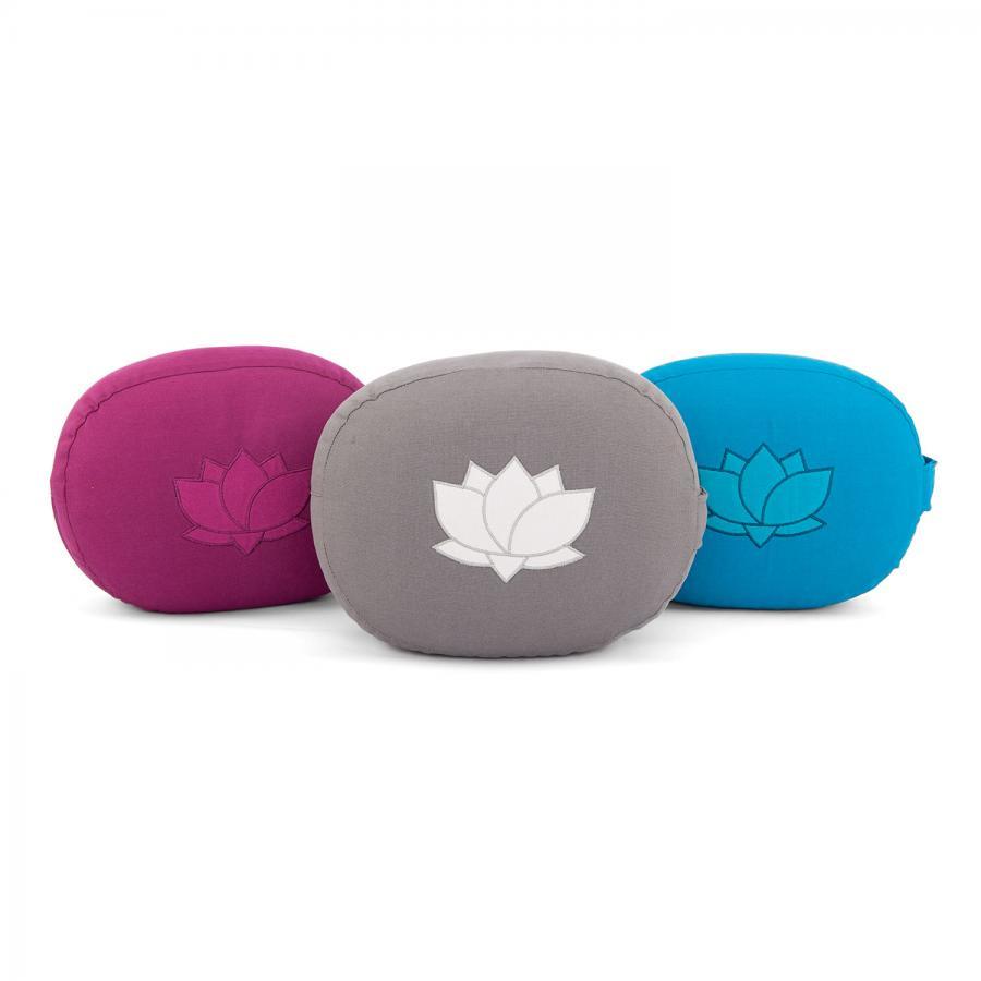 Coussin de méditation OVAL avec broderie fleur de lotus en coton biologique