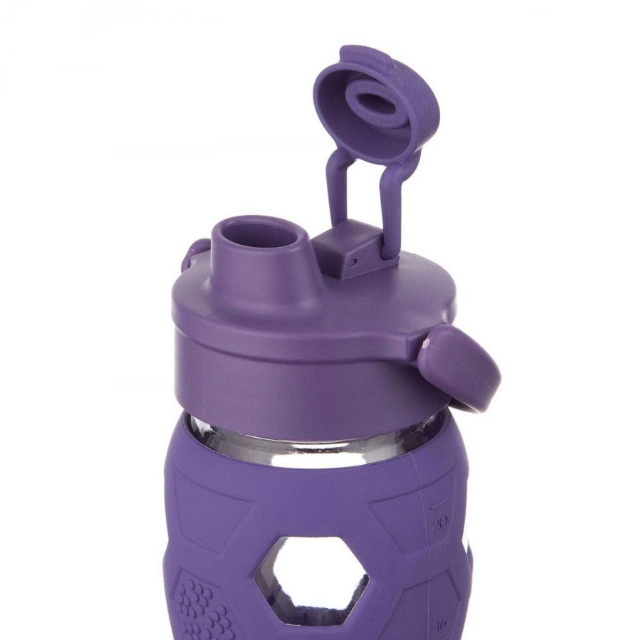 Trinkflasche aus Glas 650 ml - Flip Top purple