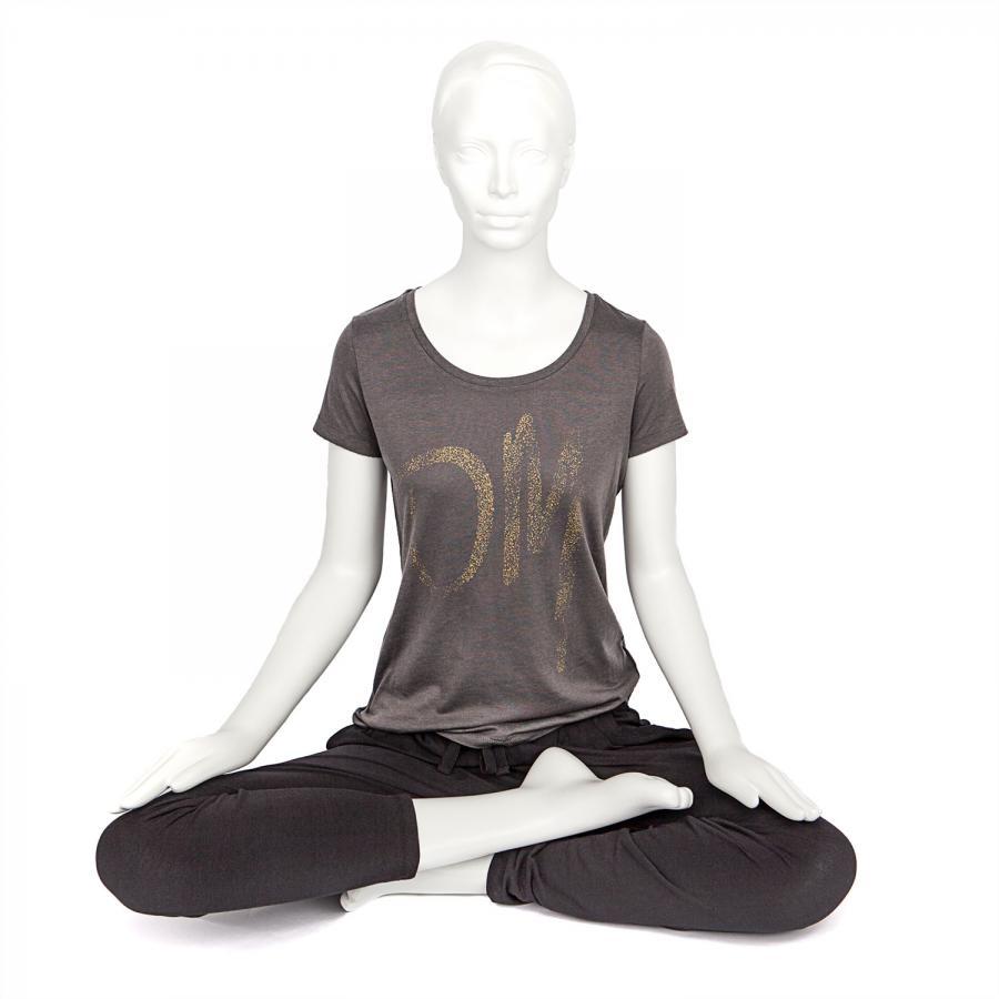 Bodhi Womens T-Shirt, OM print gold, anthracite