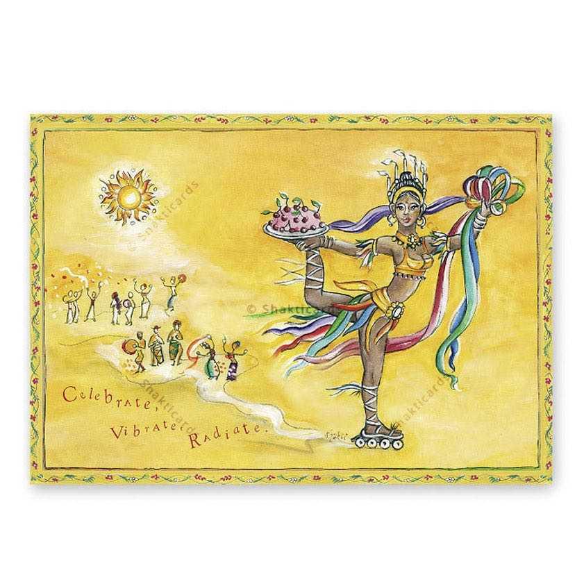 "Yoga carte postale ""Celebrate, Vibrate, Radiate"""