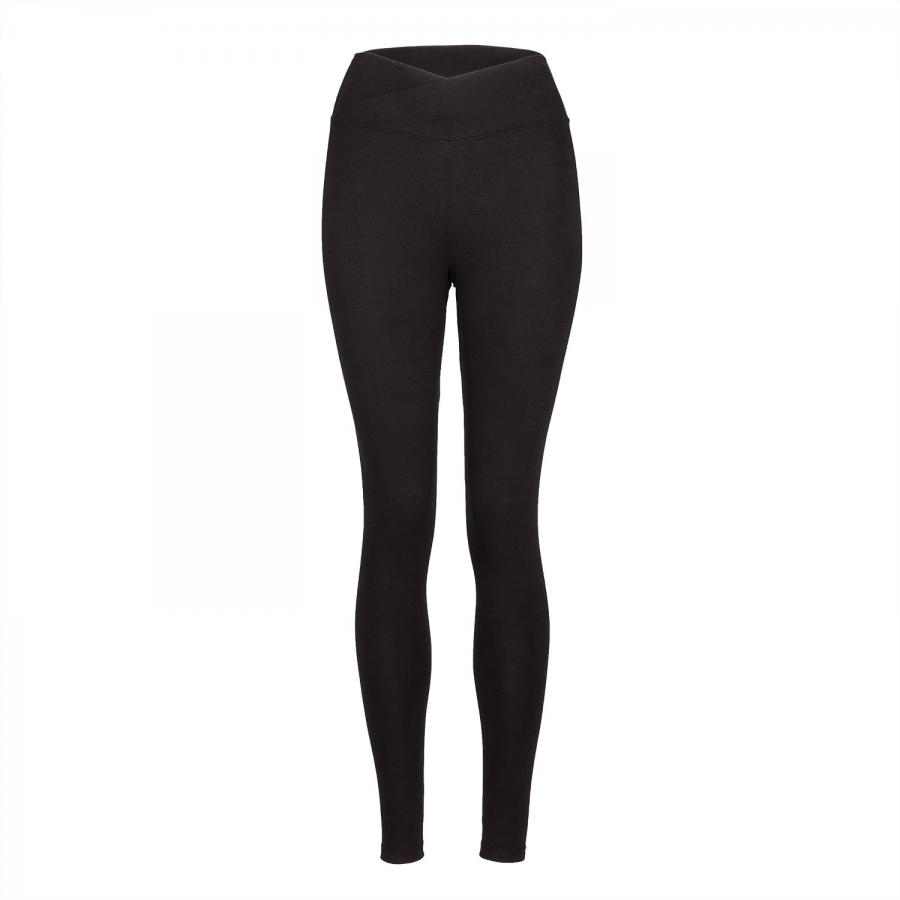 Yamadhi Basic Leggings crossed waist organic cotton schwarz