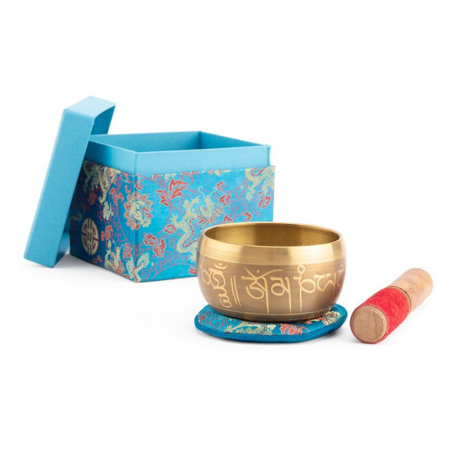 Bol chantant indien «Singing Bowl» avec design BOUDDHA de bodhi en coffret cadeau, env. 480 g, Ø 11 cm