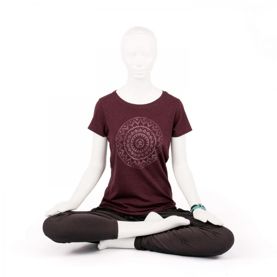 Bodhi Yoga Shirt Damen - ETHNO MANDALA, grape red XL