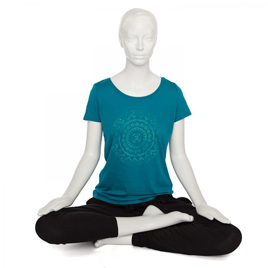Bodhi Yoga Shirt Damen - ETHNO MANDALA, Bio-Baumwolle, petrol