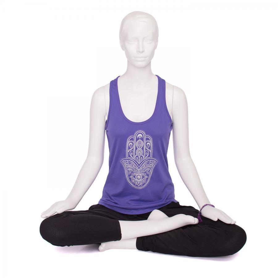 Bodhi Womens Tank Top, purple - Hamsa Hand, silber S