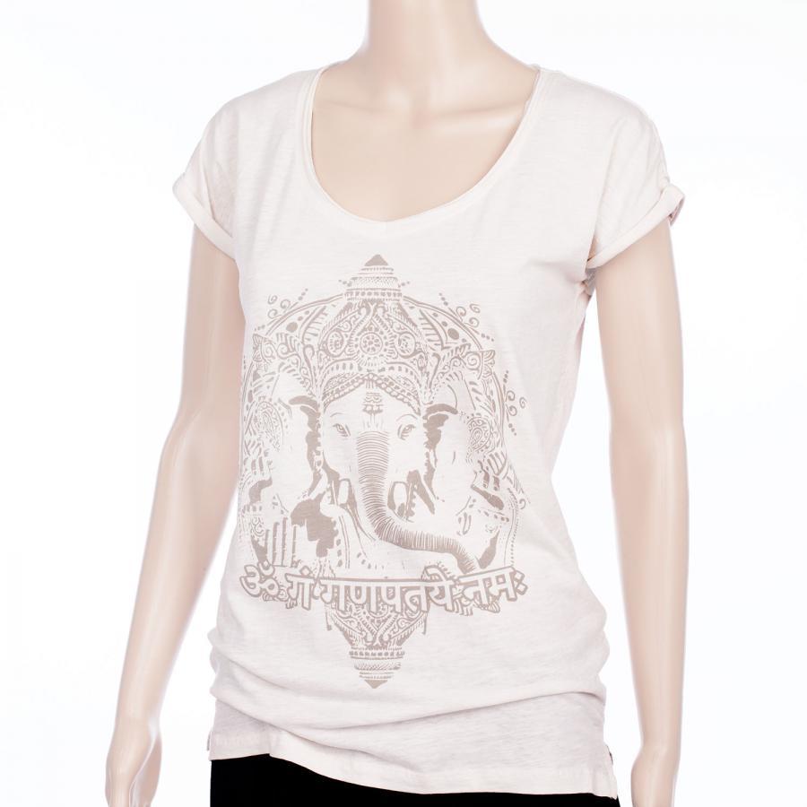 Bodhi Yoga Shirt Damen - GANESHA, vintage white