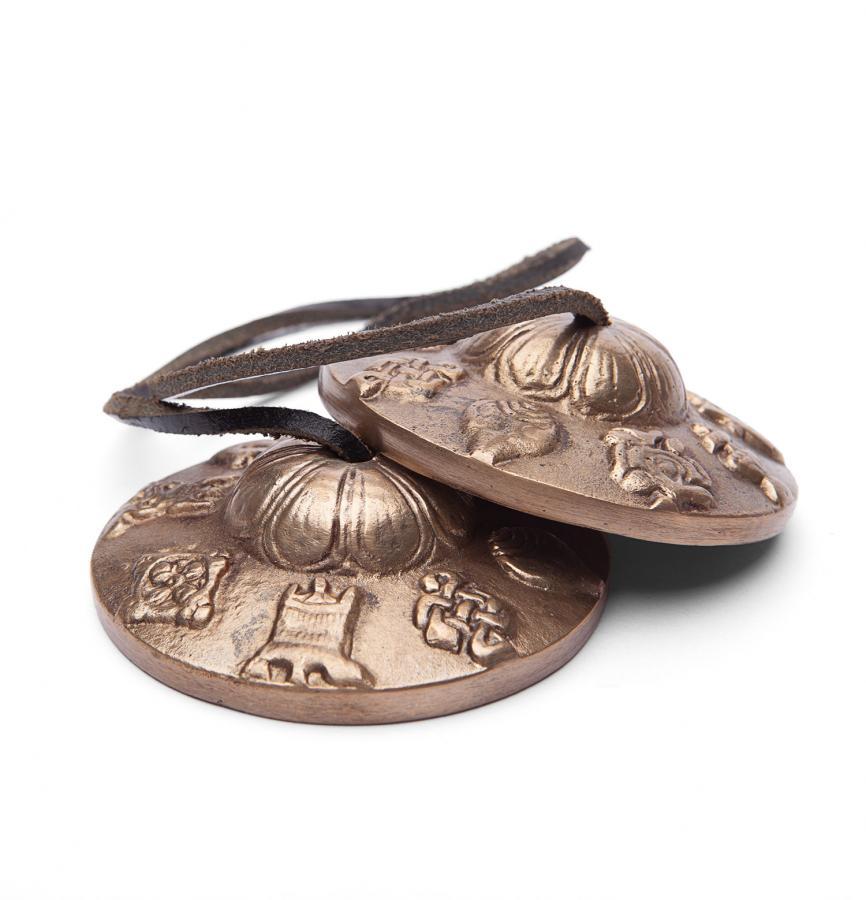 Cymbales tibétaines avec décors, diamètre env. 7,5 cm, 1 paire