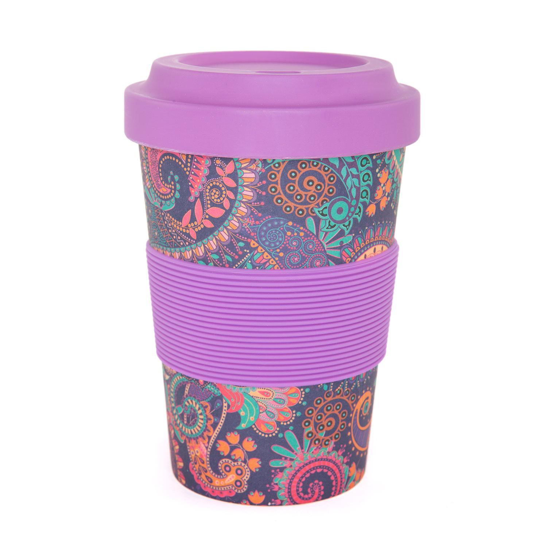 Bodynova Bodhi Yogicup 2 Go Bambus Kaffeebecher Paisley Purple