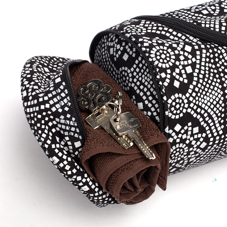 bodynova maharaja collection yogatasche asana bag cotton bandhani schwarz wei. Black Bedroom Furniture Sets. Home Design Ideas