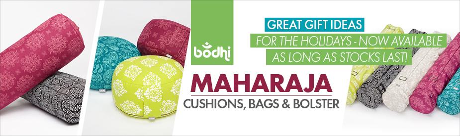 Maharaja Collection: Übersicht zu den neuen Meditationskissen, Bolster und Yogamatten-Taschen aus bedruckter, farbenfroher Baumwolle.